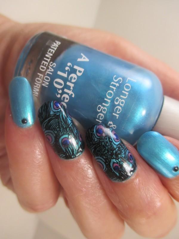 Peacock Nails nail art by NinaB