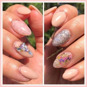 Rose Quartz | Encapsulated Flowers nail art by SweetPea_Whimsy