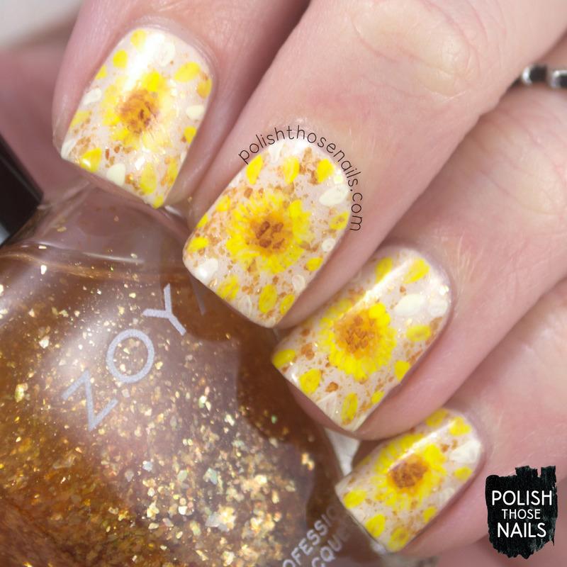 Broken Sunflowers nail art by Marisa  Cavanaugh