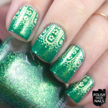 Green shimmer floral half moon lace pattern nail art 4 thumb370f