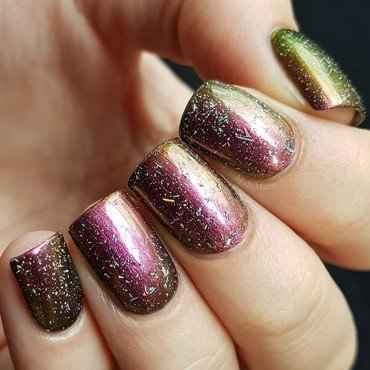 Multichrome nail polish with a holo flake top coat nail art by Emmelie Slotboom
