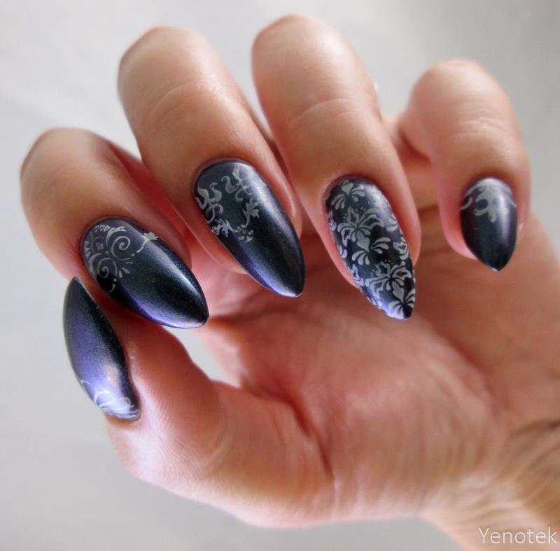 Elegant stamping nail art by Yenotek