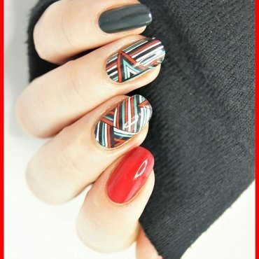 stripes and triangles nail art by ELIZA OK-W