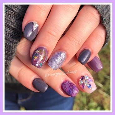 Purple Encapsulated Flowers Kids' Mani nail art by SweetPea_Whimsy