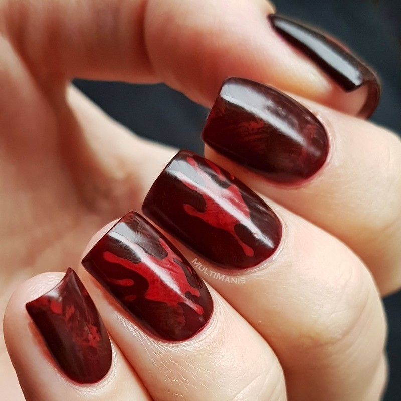 Disappearing bloody hands nail art by Emmelie Slotboom