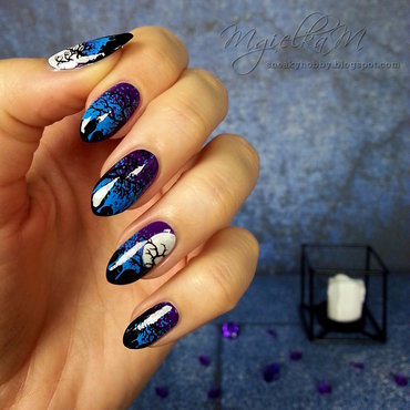 Spooky Night Sky - #glamnailschallengeoct  nail art by Mgielka M