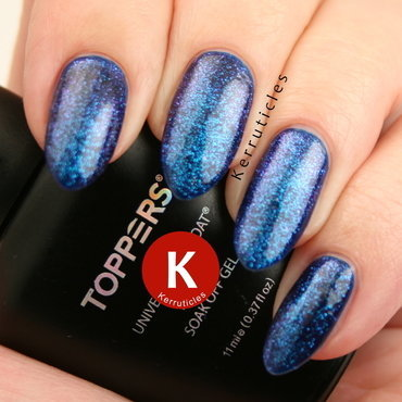 Shimmery blue nail art by Claire Kerr
