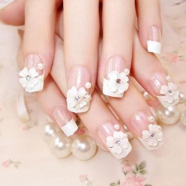 Final Product Beautiful 24 Box Packing Faux Nail French nail art by beautybigbang
