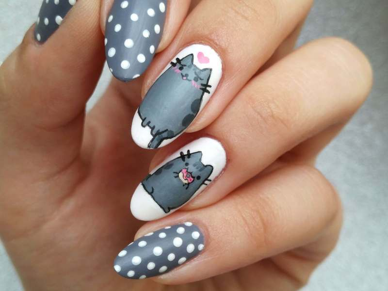 Pusheen nail art by MaliNaila