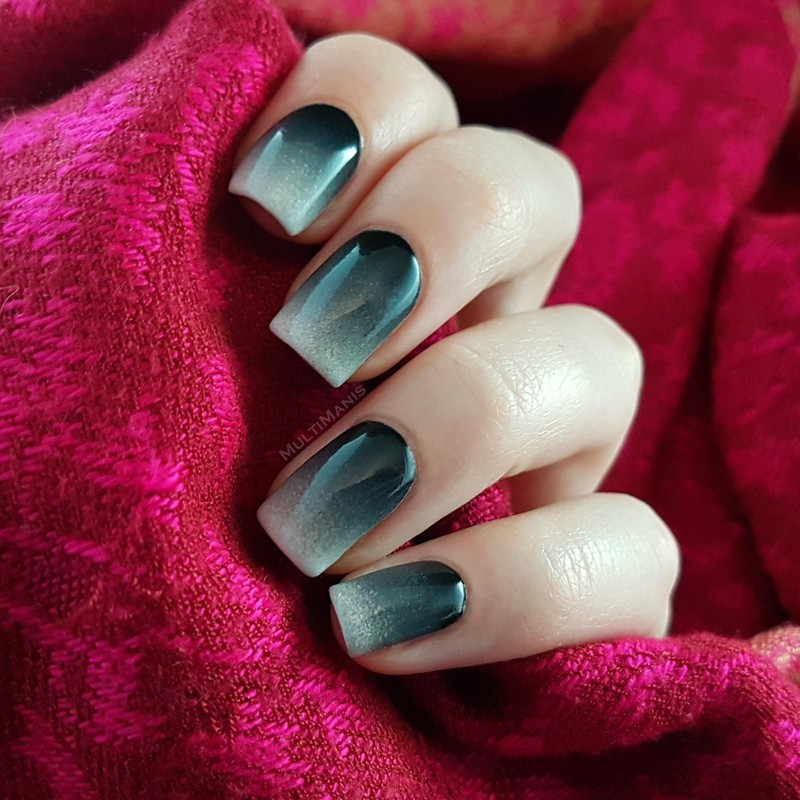 Black to white gradient nail art by Emmelie Slotboom