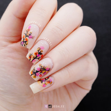 Fall Snowy Forest nail art by JeeA Lee