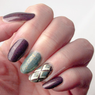 Art deco in fall colors nail art by What's on my nails today?