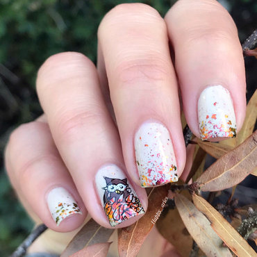 Owl nail art  nail art by Happy_aries