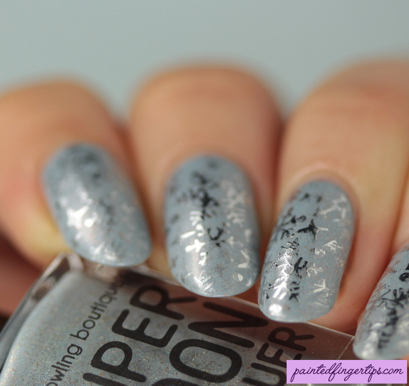 Foil snowflake stamping nail art by Kerry_Fingertips