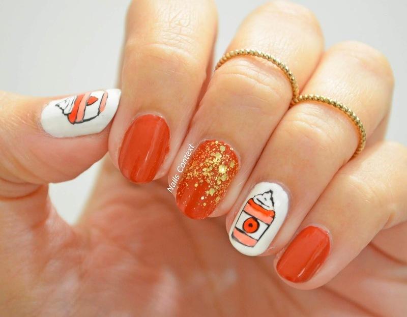 Pumpkin Spice Latte Nails  nail art by NailsContext