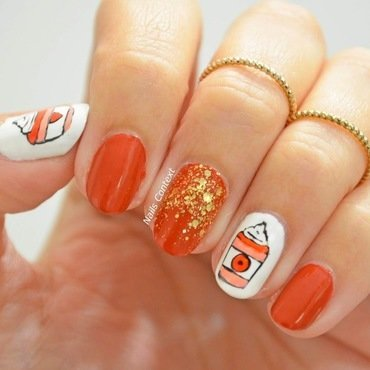 Pumpkin Spice Latte Nails  nail art by NailsContext