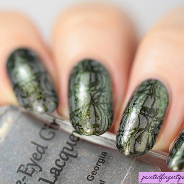 Powder stamped pumpkins nail art by Kerry_Fingertips