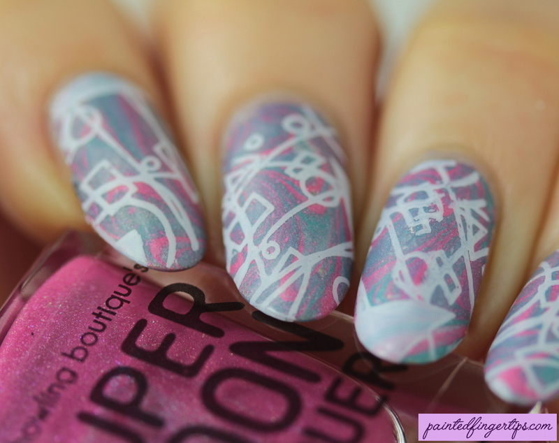 Water marble with stamping nail art by Kerry_Fingertips