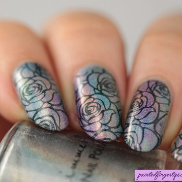 Holo roses nail art by Kerry_Fingertips