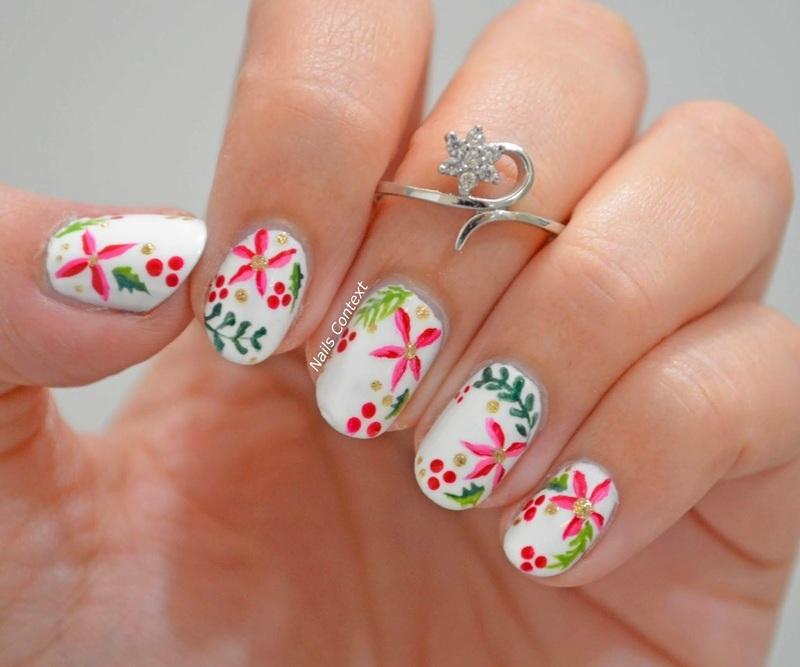 Christmas Foliage Nails  nail art by NailsContext