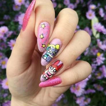 Power puff girls / Atomówki na paznokciach nail art by MaliNaila