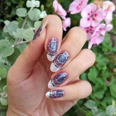 Różowo-niebieskie paznokcie nail art by MaliNaila