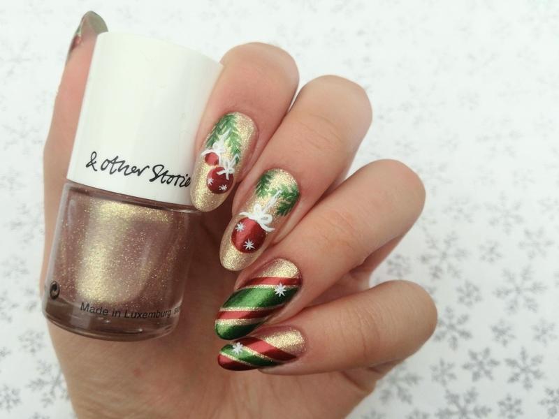 Świąteczne paznokcie nail art by MaliNaila
