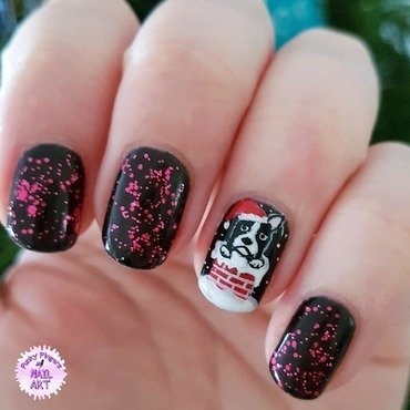 Christmas puppy nail art by Funky fingers nail art