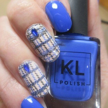 Blue Plaid nail art by NinaB