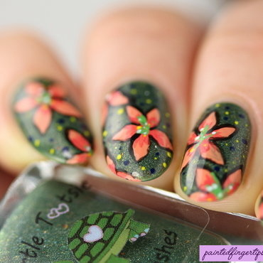 Freehand coral flowers nail art thumb370f
