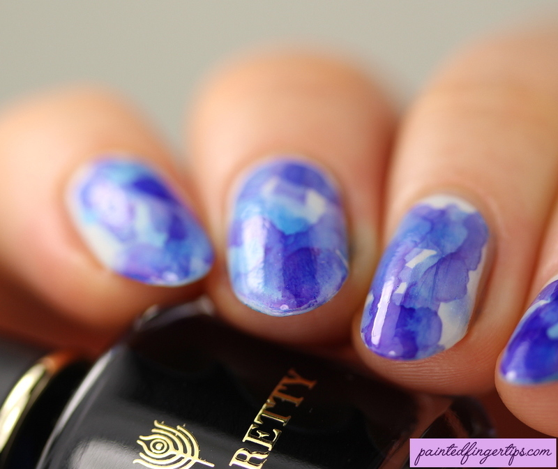 Watercolour marble nail art by Kerry_Fingertips