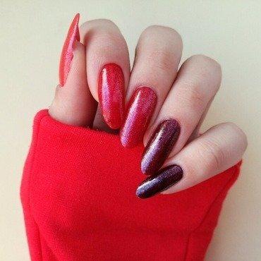 Czerwone ombre nail art by MaliNaila