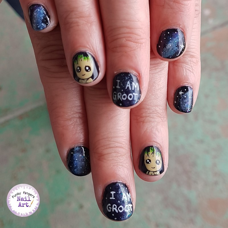 I am groot nail art by Funky fingers nail art