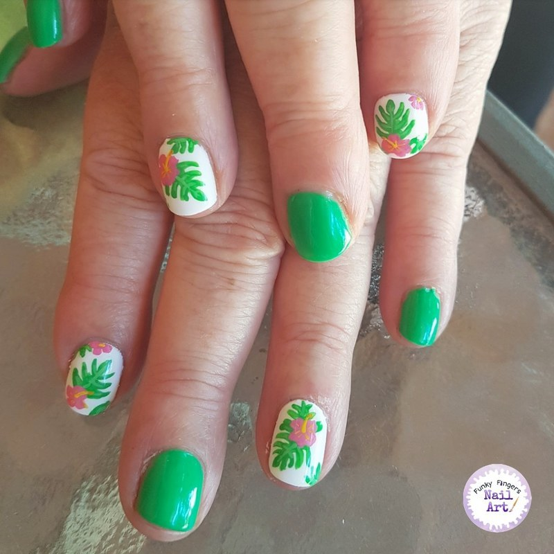 Summer flowers nail art by Funky fingers nail art