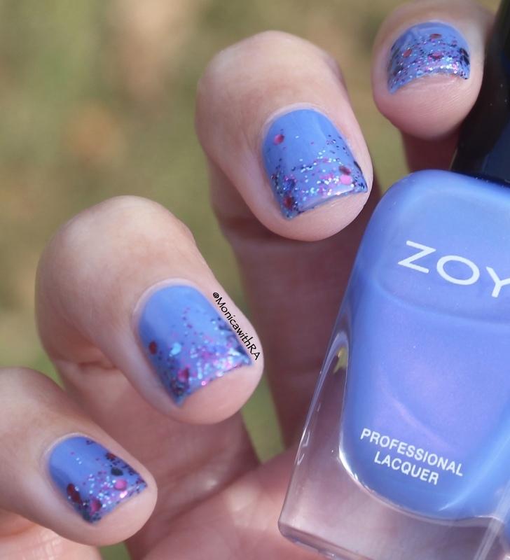 Easy, Festive Glitter Tips nail art by Monica