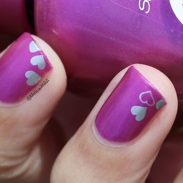 Easy Stamped Valentine's Day Hearts nail art by Monica