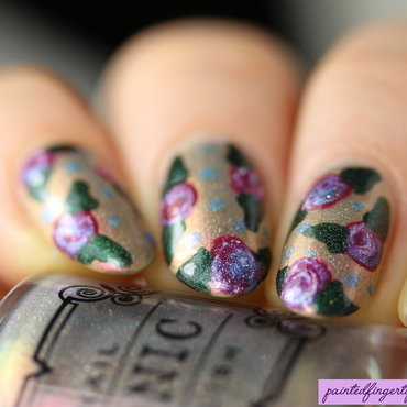Rose needle drag nail art by Kerry_Fingertips