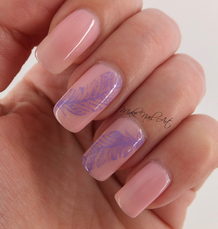 Stamping Feathers nail art by Make Nail Art