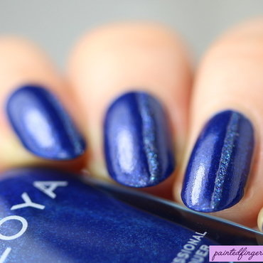 Elegant blue stripe nail art by Kerry_Fingertips