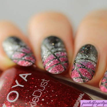 Criss-cross gradient nails nail art by Kerry_Fingertips