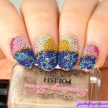 Microbead sunset nail art by Kerry_Fingertips