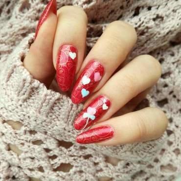 Paznokcie na walentynki nail art by MaliNaila