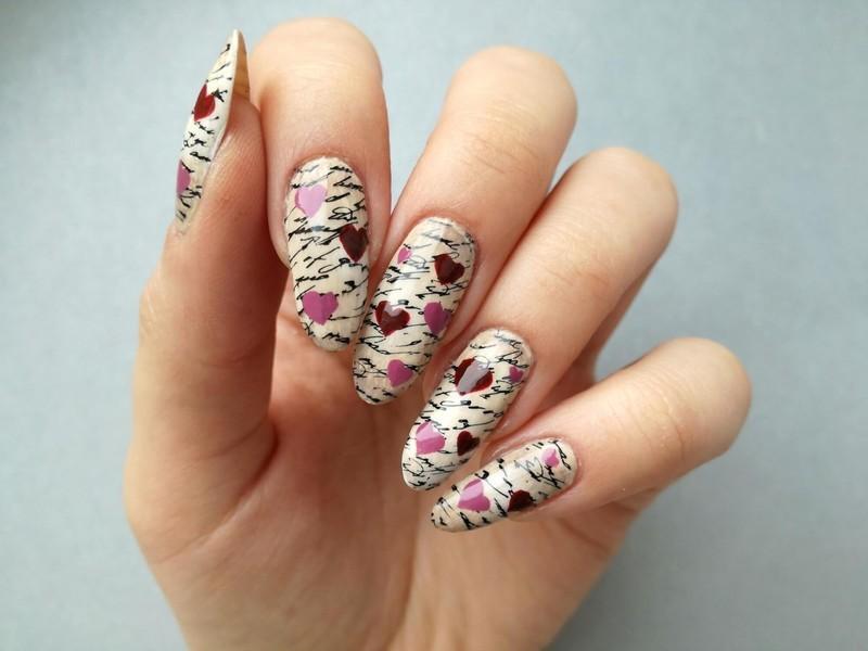 Paznokcie w serduszka retro nail art by MaliNaila
