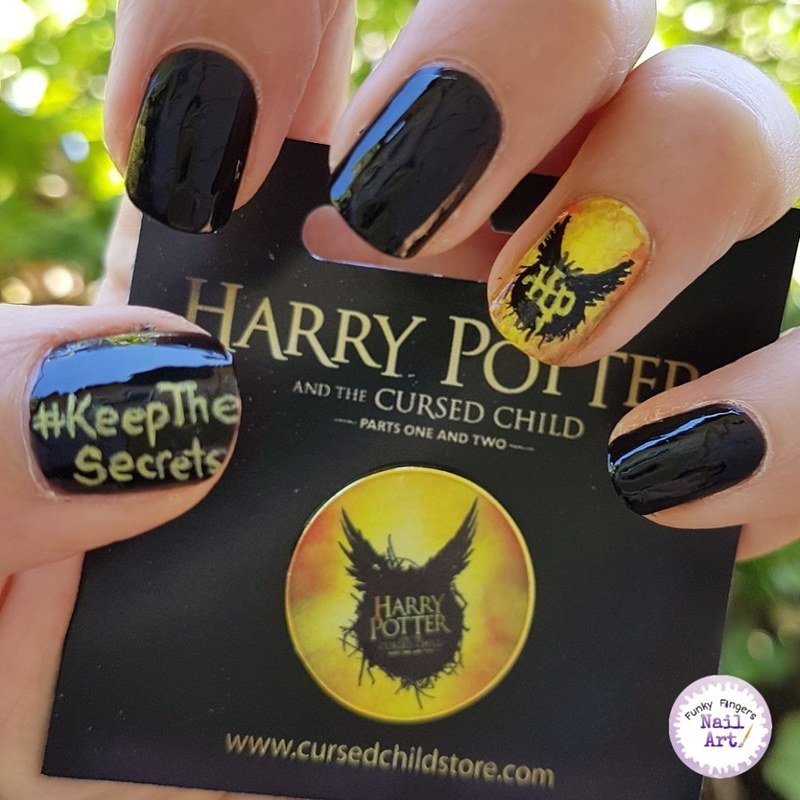 Harry potter and the cursed chils nail art by Funky fingers nail art