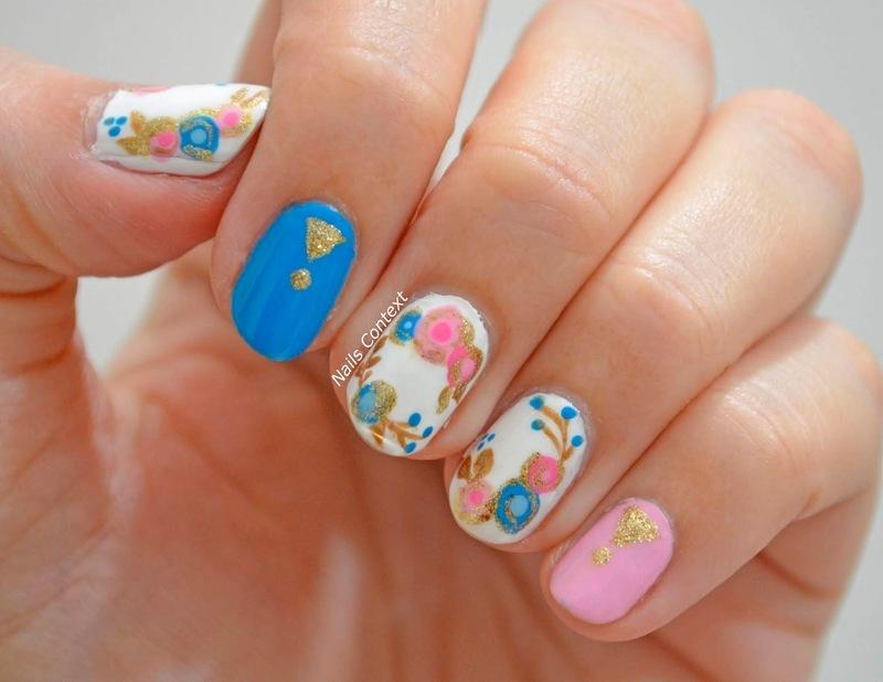 Flower Nails  nail art by NailsContext
