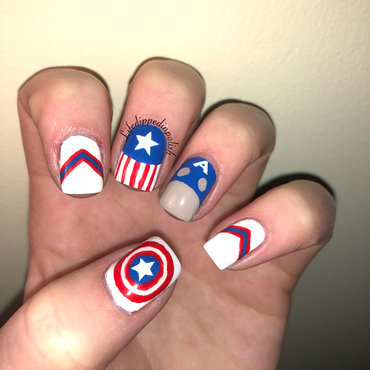 Captain America nail art by lifedippedinpolish