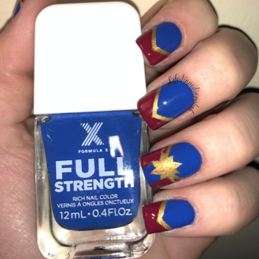 Captain Marvel nail art by lifedippedinpolish