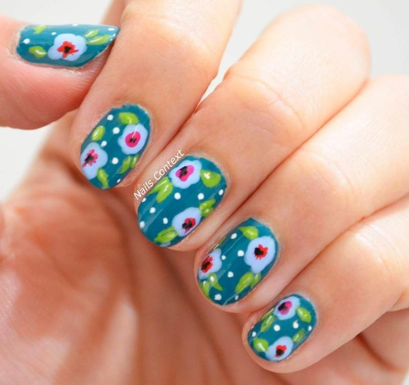 Teal Spring Florals  nail art by NailsContext