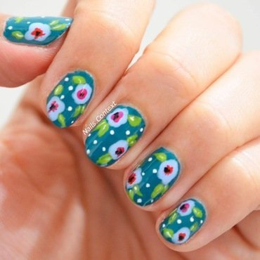Teal Spring Florals  nail art by NailsContext