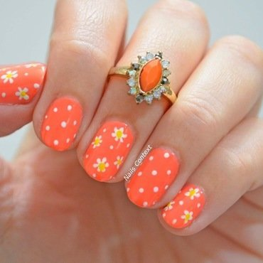 Electric Orange Florals  nail art by NailsContext